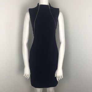 Calvin Klein Navy Mock Neck Dual Zip Sheath Dress